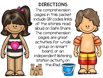 Beach QR CODE Comprehension Sheets