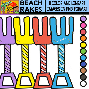 Beach Rakes - Colorful Cliparts Set - 11 Items