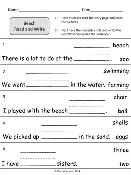 Beach Read and Write (Summer) (reading comprehension)