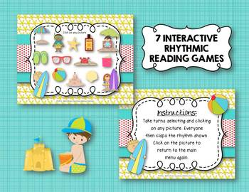 Beach Rhythms! An Interactive Rhythm GAME BUNDLE - 7 GAMES! (Kodaly)