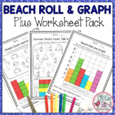 Roll and Graph Activity & Count and Graph Worksheets with Beach Theme