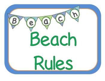 Beach Rules: Beach Themed Classroom Rules