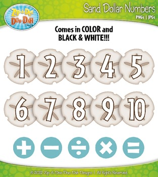 Beach Sand Dollar Math Numbers Clipart — Over 30 Graphics!
