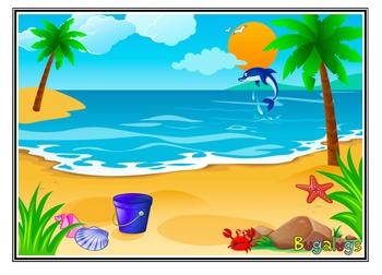 Beach Scene Adjective Learning Barrier Game