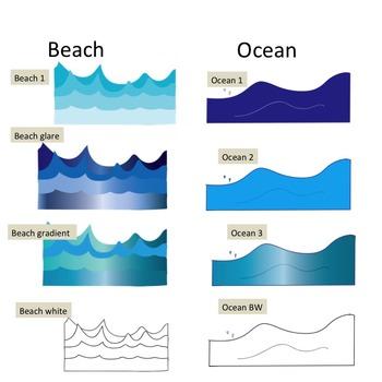 (SALE!) Beach Sea Wave Ocean Clip Art