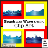 (SALE!) Beach Sea Wave Ocean Clip Art
