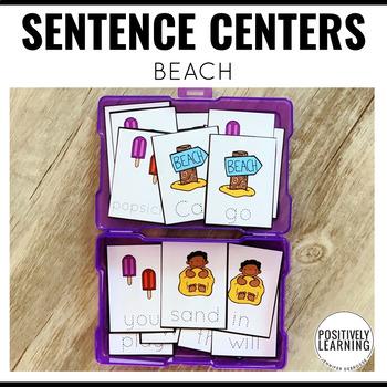 Sentence Building Cards Beach Theme