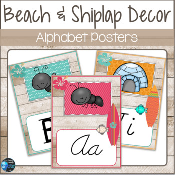 Beach Shiplap Theme Alphabet Poster Set