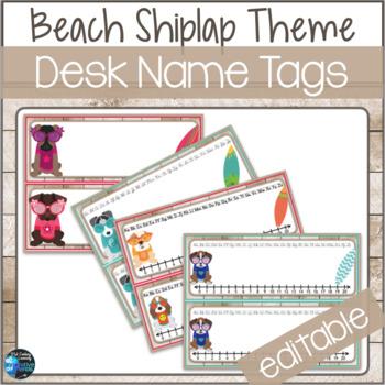 Beach Shiplap Theme Desk Name Tags