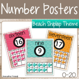 Beach Shiplap Theme Number Posters