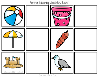 Beach Theme Matching Task for Preschool, Pre-K and Special Needs
