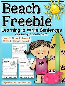 Beach Simple Sentences Freebie