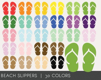Beach Slippers Digital Clipart, Beach Slippers Graphics, Beach Slippers PNG