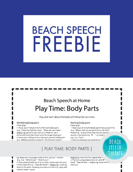 Beach Speech at Home: Handout for Parents - Body Parts