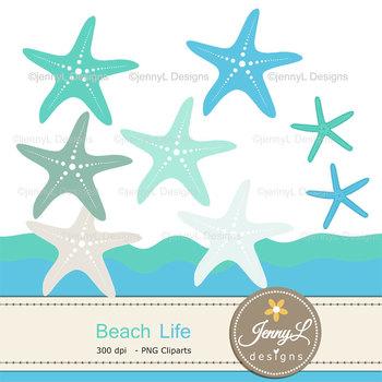 Beach Starfiish digital paper and clipart
