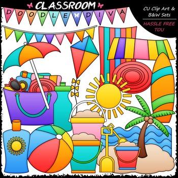 Beach Stuff Clip Art - Summer Clip Art & B&W Set