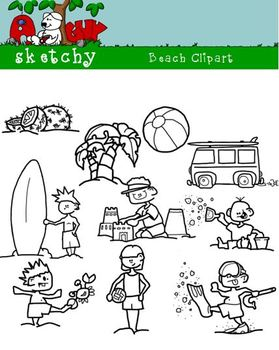 Beach / Summer Graphics / Clipart - 300dpi Color, Grayscale, Black Lined