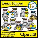 Beach/Summer Hippos Clipart Kit (clipart,borders, & digita