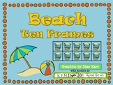 Beach {Summer} Ten Frame Clip Art {Ball Crab Castle} 0-10 Common Core Math Aid
