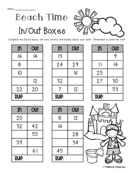 Beach - Summertime In / Out Boxes - Number Patterns / Rules