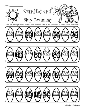 Beach - Summertime Skip Counting and Number Sequencing Patterns