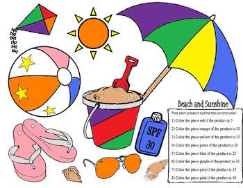 Beach Sunshine Coloring - Multiplying Decimals and Whole Numbers (6.NS.B.3)