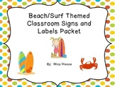 Beach Surf Themed Labels, Signs, and Posters