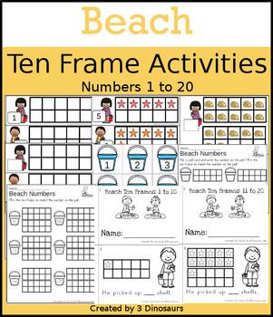 Beach Ten Frame Activities (1-20)