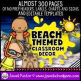 Beach Themed Classroom Decor EDITABLE (Beach Classroom Theme Decor)