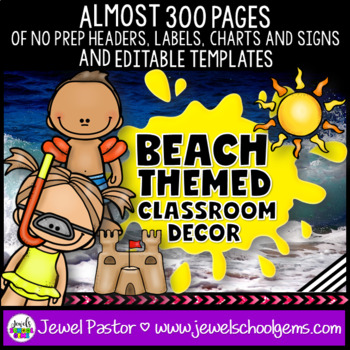 Beach Themed Classroom Decor EDITABLE (Beach Classroom Theme Decor)