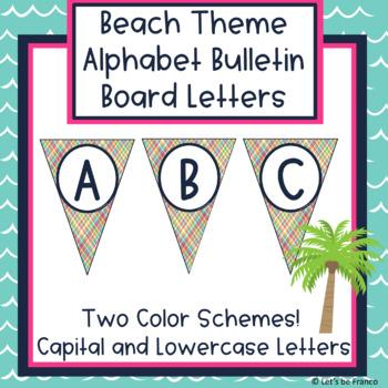 Beach Theme Alphabet Bulletin Board Letters