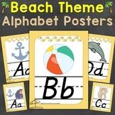 Beach Theme Alphabet Posters D'Nealian Font