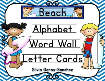 Beach Theme Alphabet and Word Wall Letter Cards
