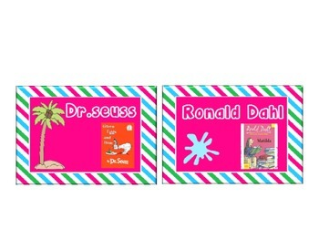 Beach Theme Author Name Book Labels with Pink Blue Green Stripes: