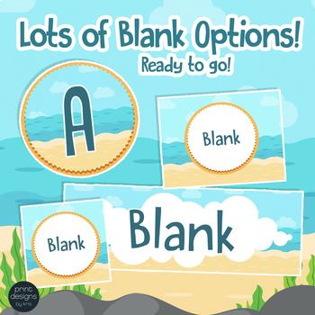 Beach Theme Banners and Blank Labels and Signs