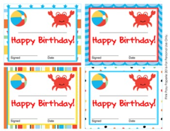 Beach Theme Birthday Certificates