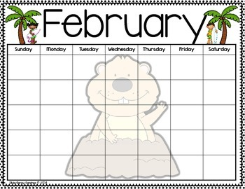 Beach Theme Blank Monthly Calendars
