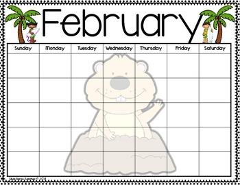 Beach Theme Blank Monthly Calendars