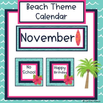 Beach Theme Calendar