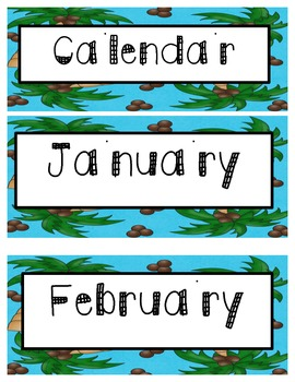 Beach Theme Calendar Cards