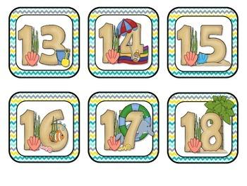 Ocean Beach Theme Calendar Numbers - Back to School