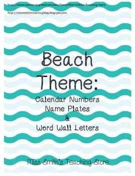 Beach Theme: Calendar Numbers, Name Plates and More!