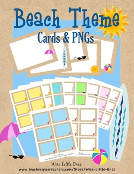 Beach Theme Cards and Clip Art- Create centers, math facts, games, stationary...