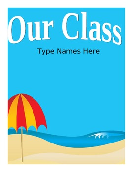 Beach Theme Class List - Editable