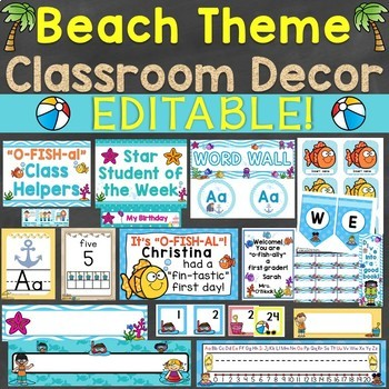 Beach Theme Classroom Decor Back To School Activities Bundle Pack
