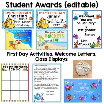 Beach Theme Classroom Decor & Back to School Activities Bundle Pack