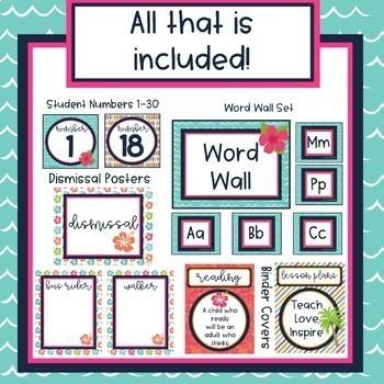 Beach Theme Classroom Decor Bundle (Editable)