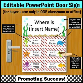 Beach Theme Classroom Decor Where Are We Door Sign EDITABLE, Office Door Sign