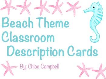 Beach Theme Classroom Job Description Cards