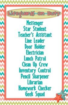 Beach Theme Classroom Jobs Poster (Editable)